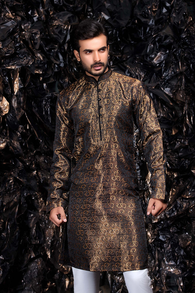 Black and Gold Brocade Occasion wear Pakistani - Indian Kurta Set