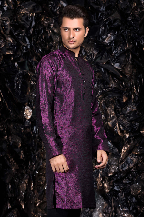 Purple Brocade Occasion wear Pakistani - Indian Kurta Shirt