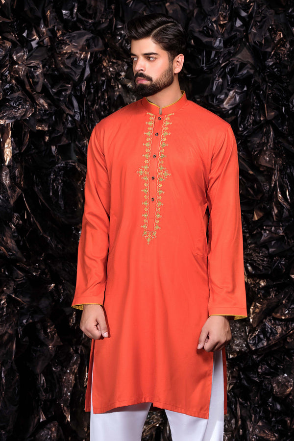 Orange Kurta Patterned Bollywood Indian Mens Shirt