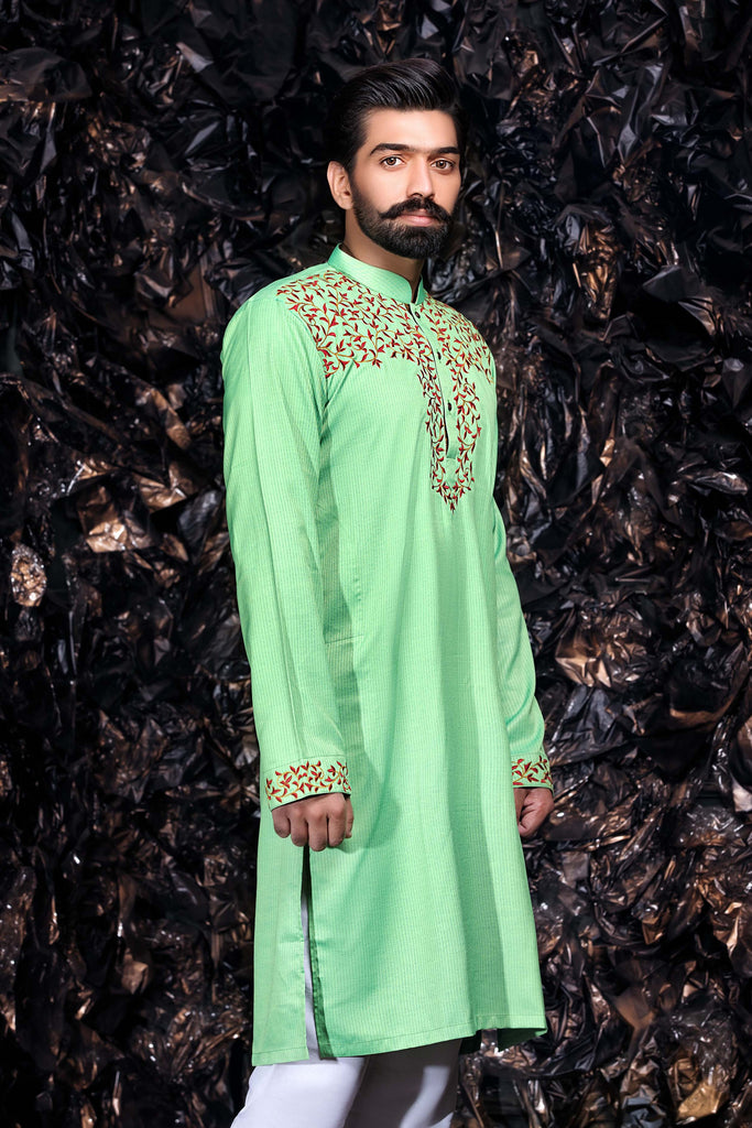Lime Green Kurta Red Pattern Bollywood Indian Mens Shirt