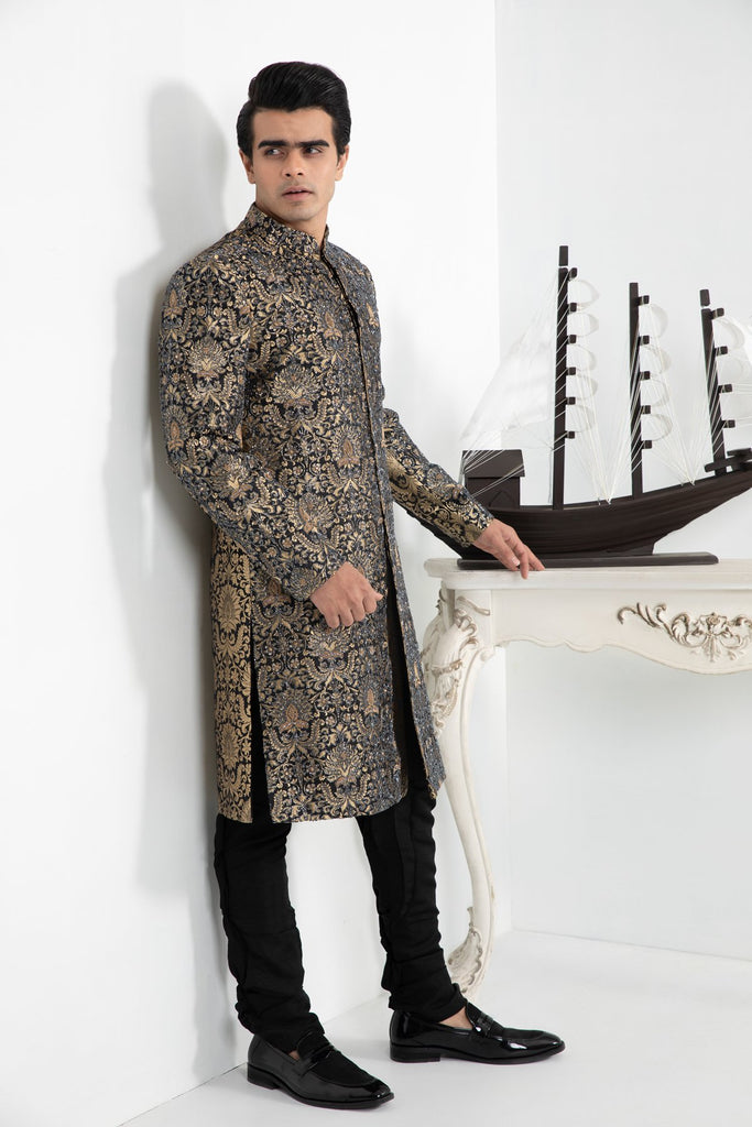 Gold Brocade Full Maharaja Sherwani