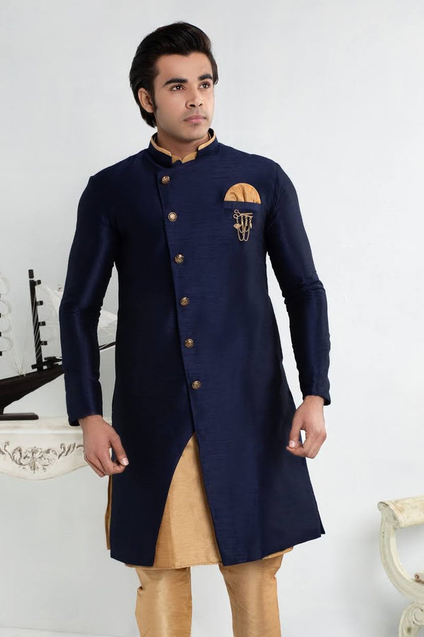 Royal Blue Cross-Cut Sherwani Suit with Gold buttons