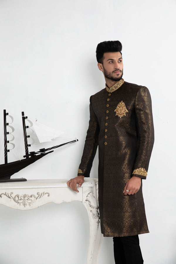 Black and Gold Multi-tone Bollywood Occassionwear Sherwani