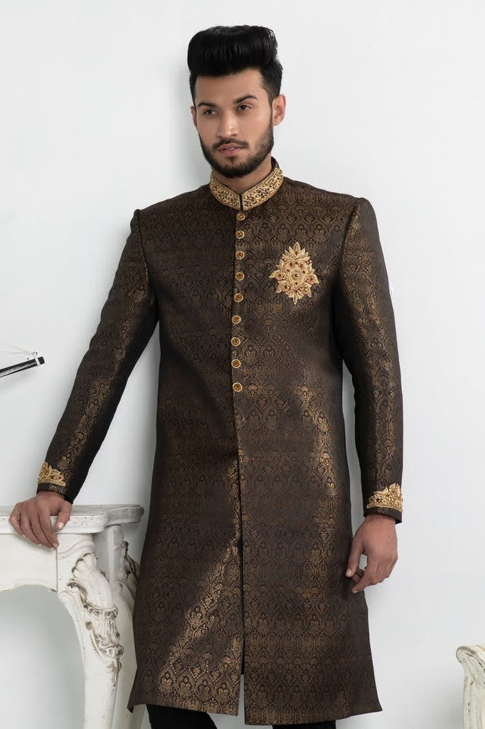 Black and Gold Brocade Pakistani Sherwani