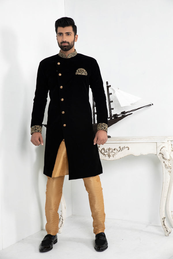 Black Velvet Sherwani with Brocade Collar & Cuff