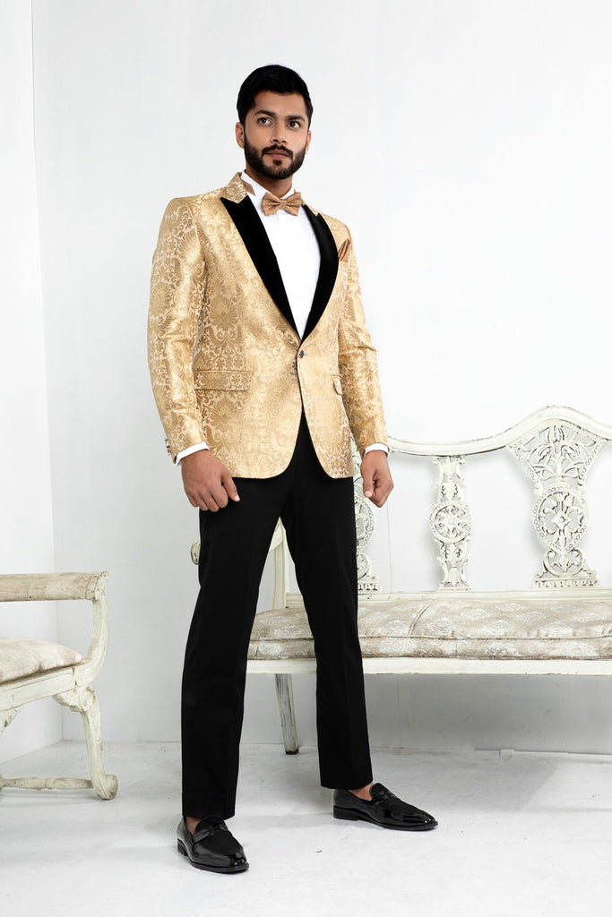 Gold Blazer with Black Velvet Lapels