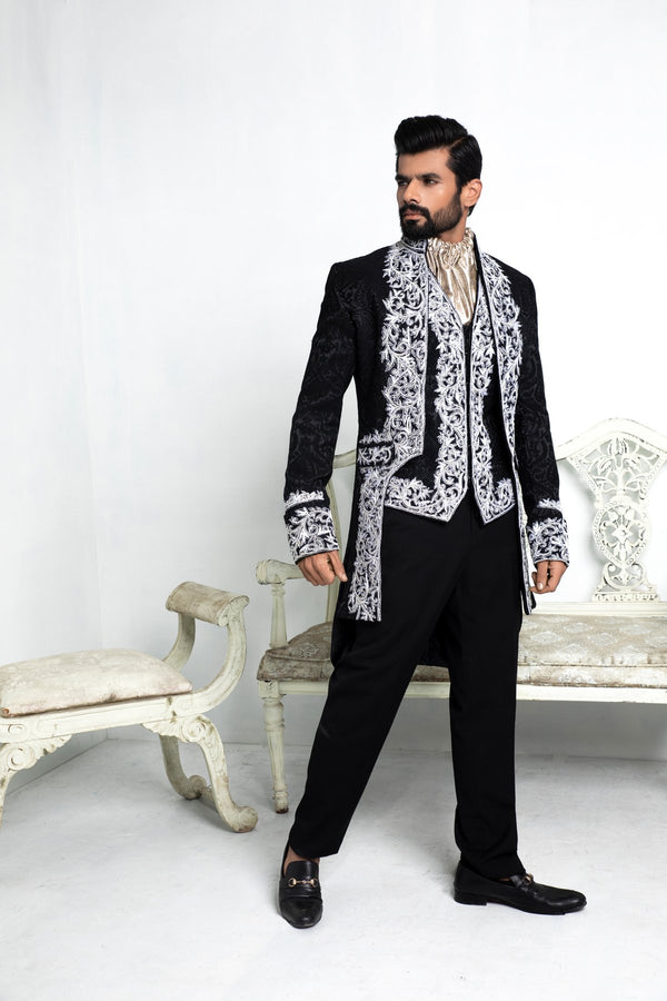 Black Admiral Embroidered Blazer with Waistcoat