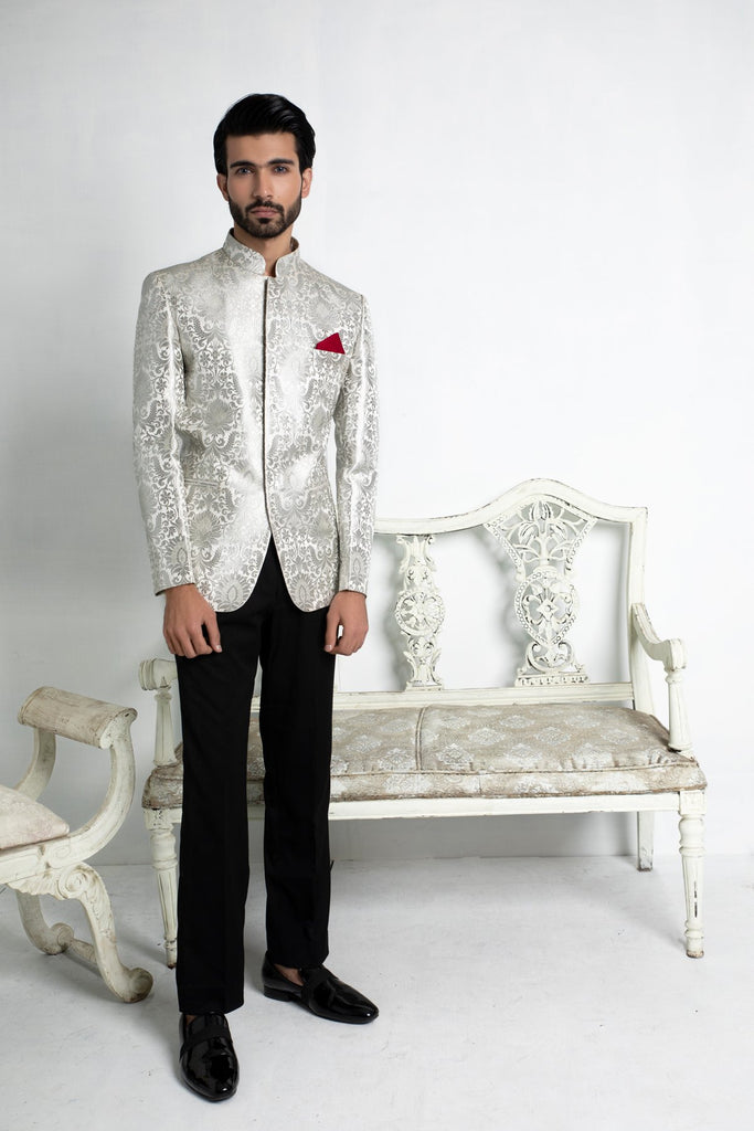 Ivory and Silver Brocade Jodhpuri Jacket