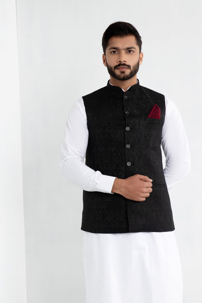 Jet Black Indian Waistcoat in Brocade Fabric