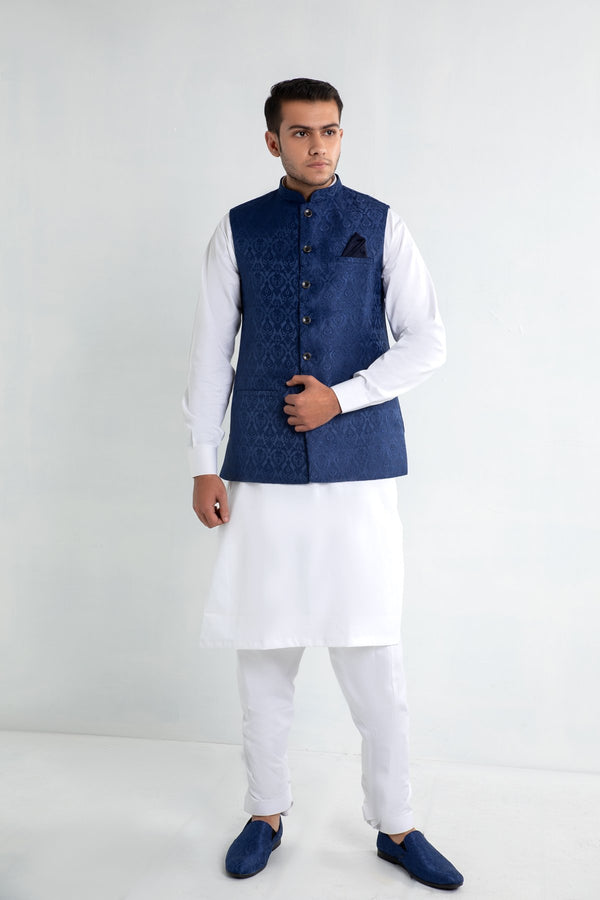 Deep Blue Indian Waistcoat in Brocade Fabric