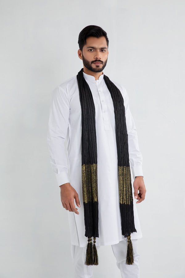 Black and Gold Sherwani Scarf