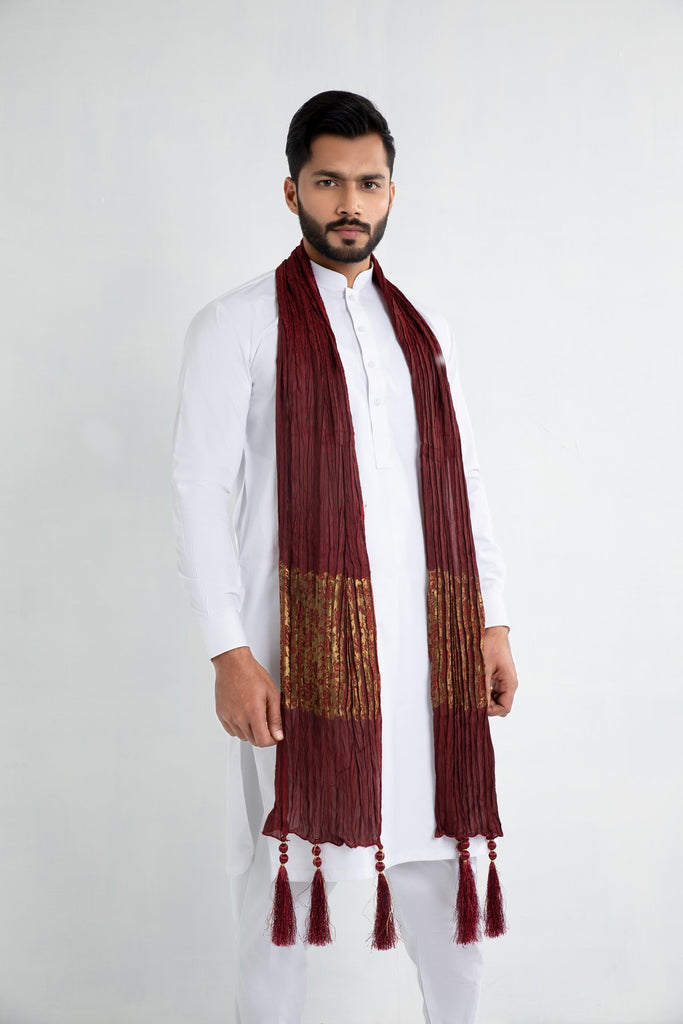 Red and Gold Sherwani Scarf