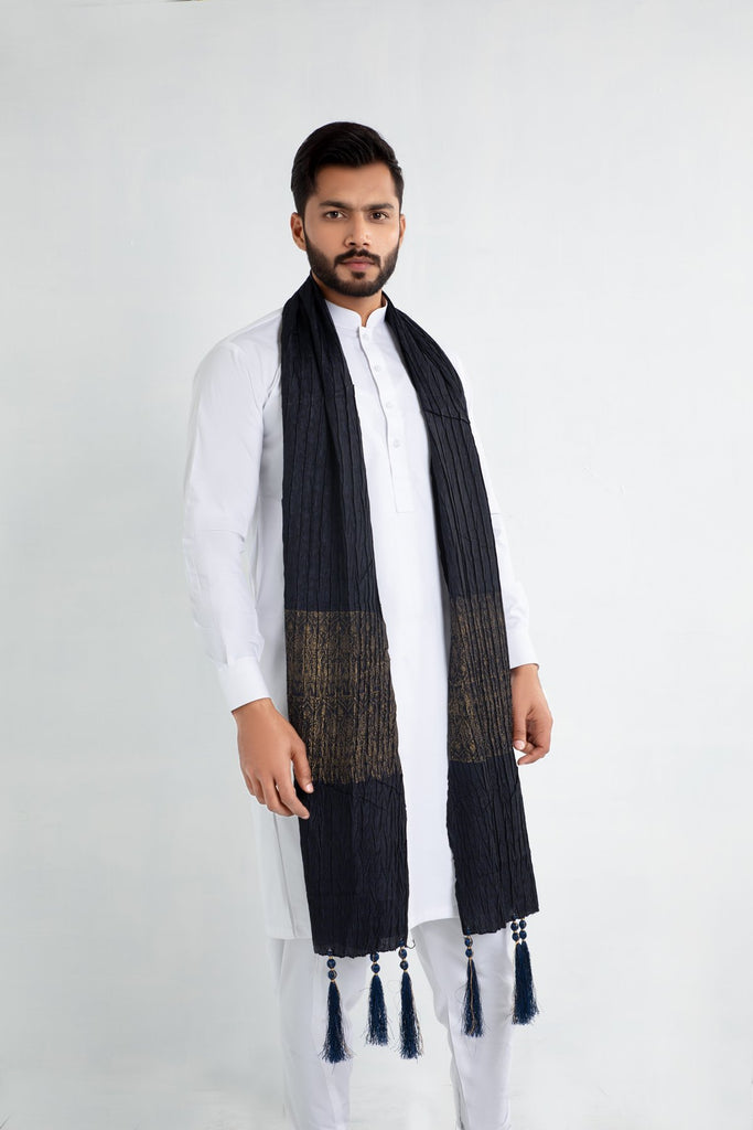 Navy and Gold Sherwani Scarf