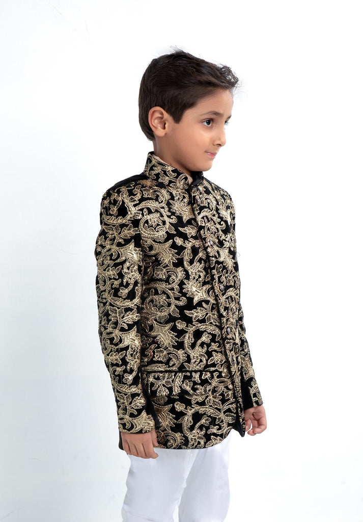 Boys Black Jodhpuri Sherwani Jacket Kids Asian Suit