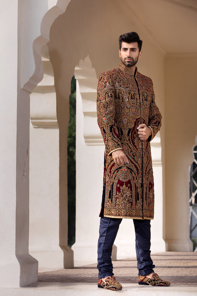 Navy and Maroon Maharajah Sherwani with Antique Gold Embroidery