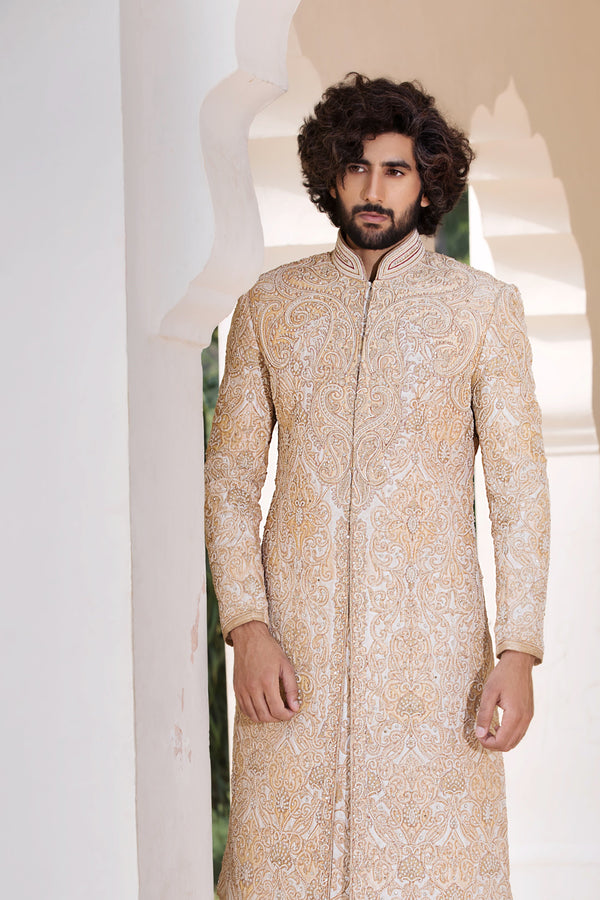 Cream Silk Sherwani with Heavy Zardozi and Stone Work