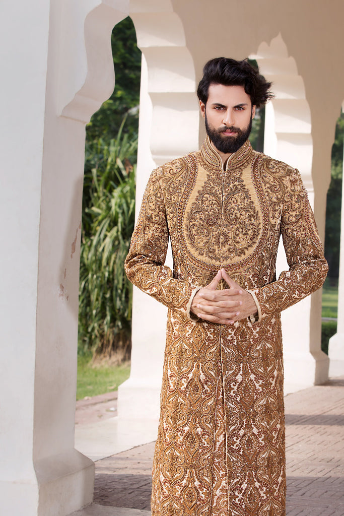 Gold Sherwani with Red Patterned Front and Back Detailing
