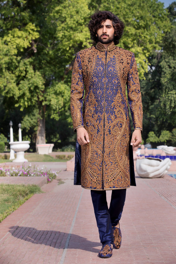 Navy Blue Sherwani with Copper Embroidery
