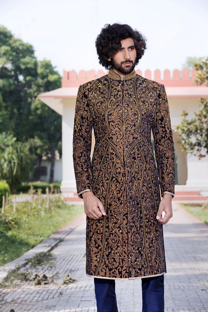 Velvet Maharaja Sherwani with Rear Lateral Motif