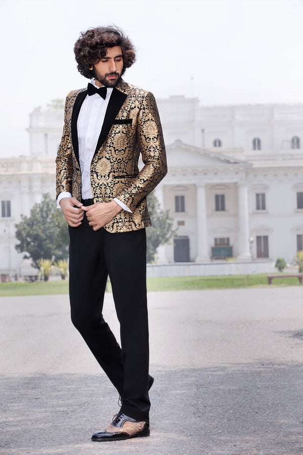 Black and Gold Brocade Blazer