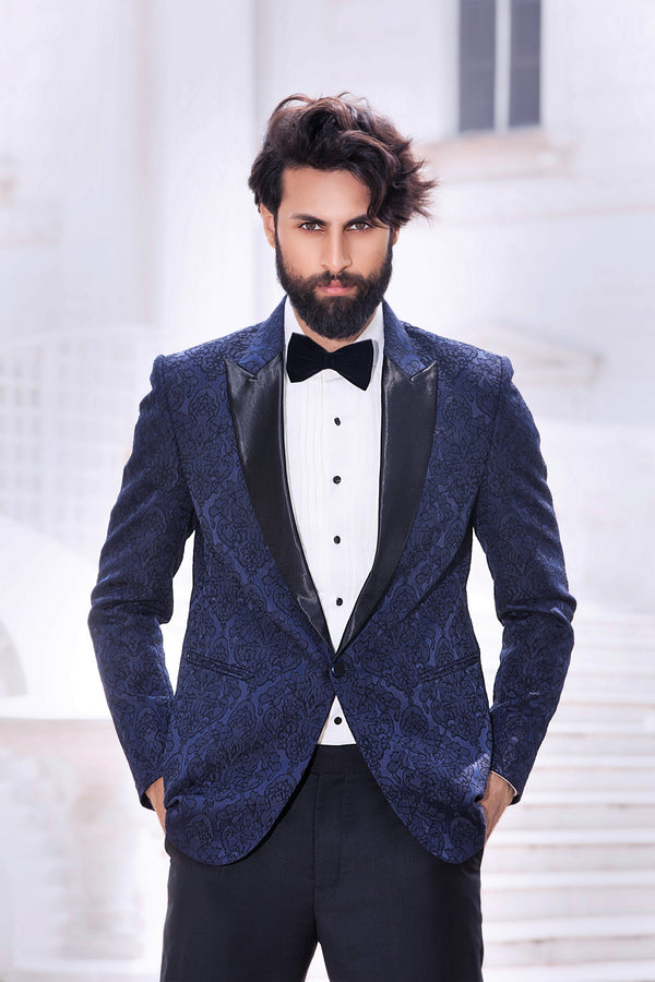 Navy Blue 3D Embossed Brocade Blazer