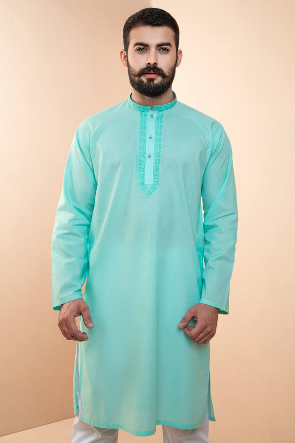 Teal Eid Kurta Set with Patterned Collar and Front