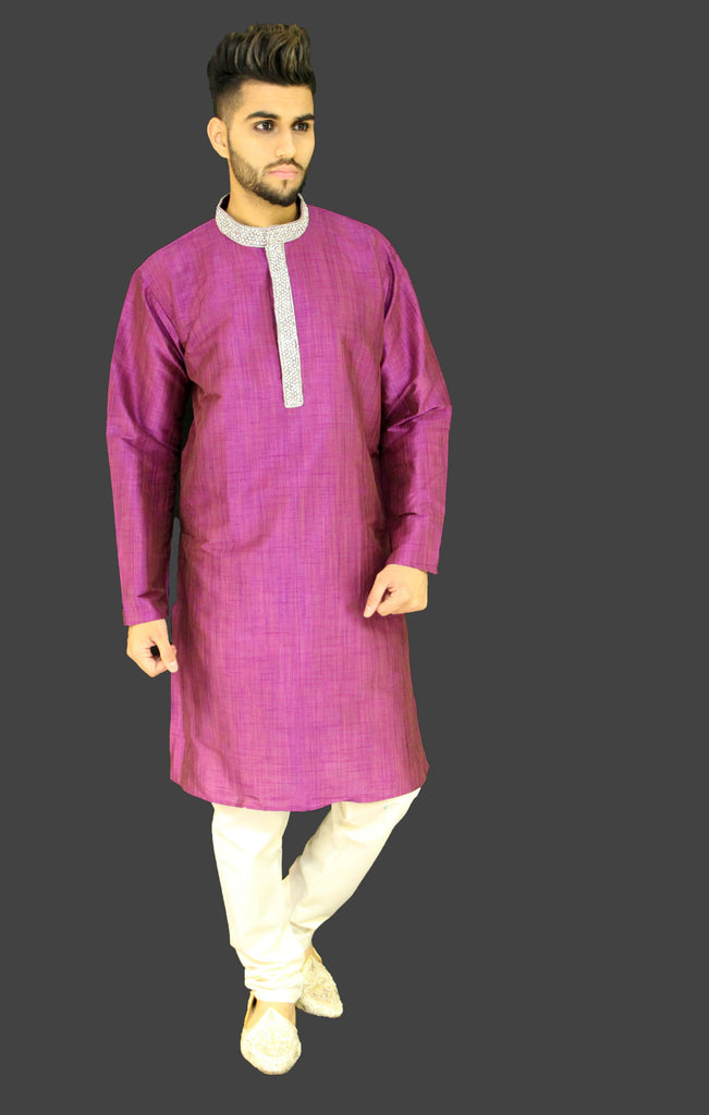 Magenta Silk Kurta Sherwani with Stonework detail on Collar and Chest