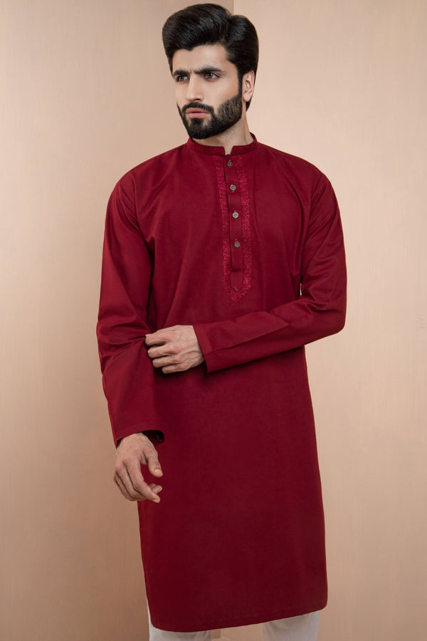 Crimson Eid Kurta Set with Patterned Collar and Front