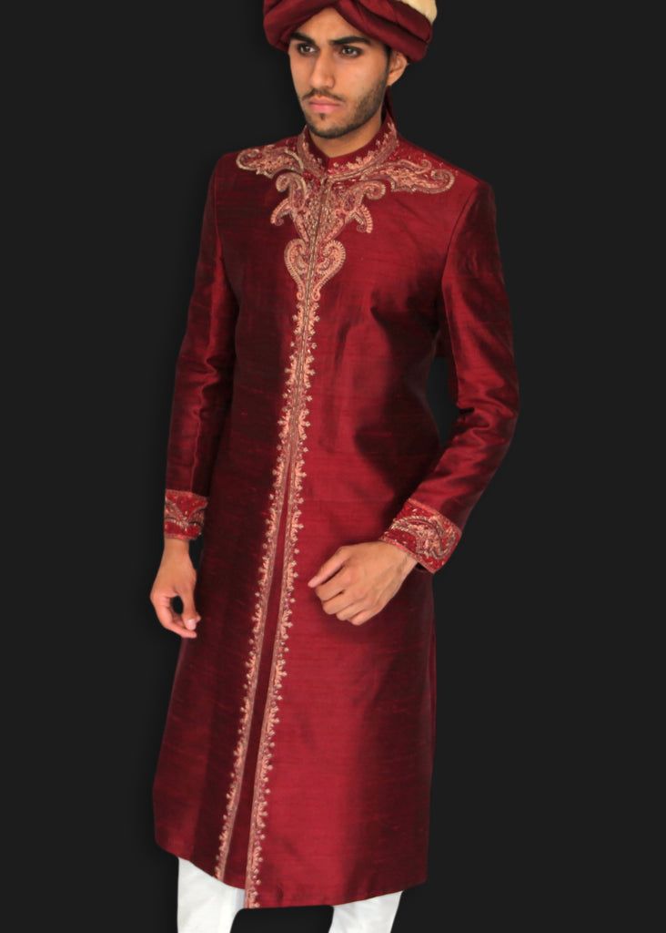 Maroon Sherwani with Hand Embroidered Zardozi Detailing