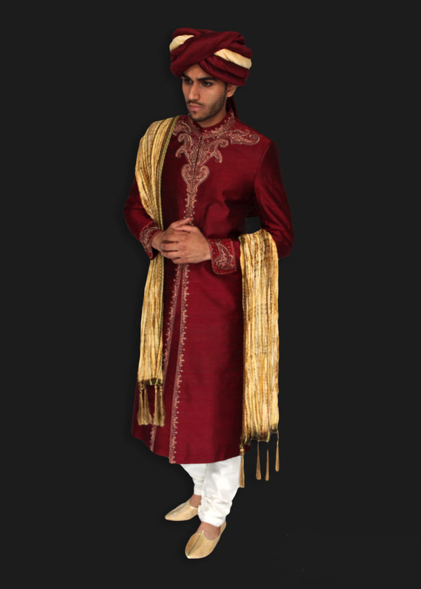 Maroon Silk Sherwani with Hand Embroidered Zardozi Detailing