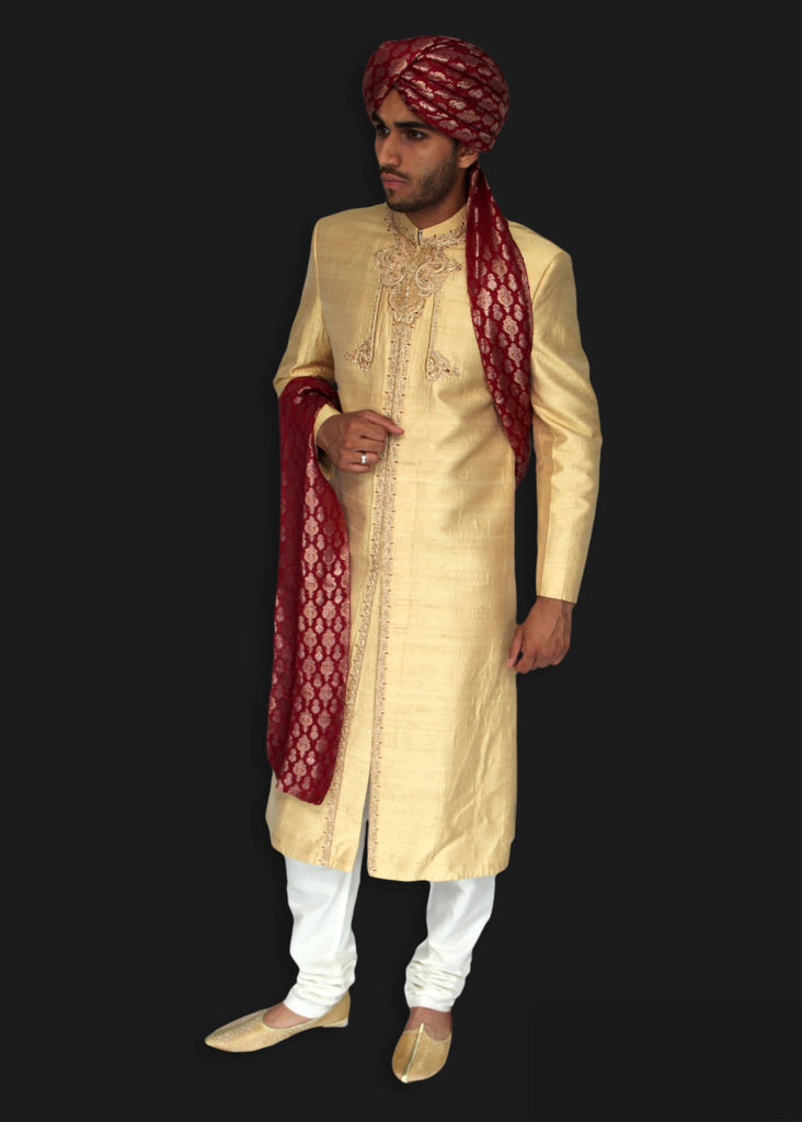 Light Gold Silk Sherwani with Delicate Hand Embroidered Zardozi Detailing