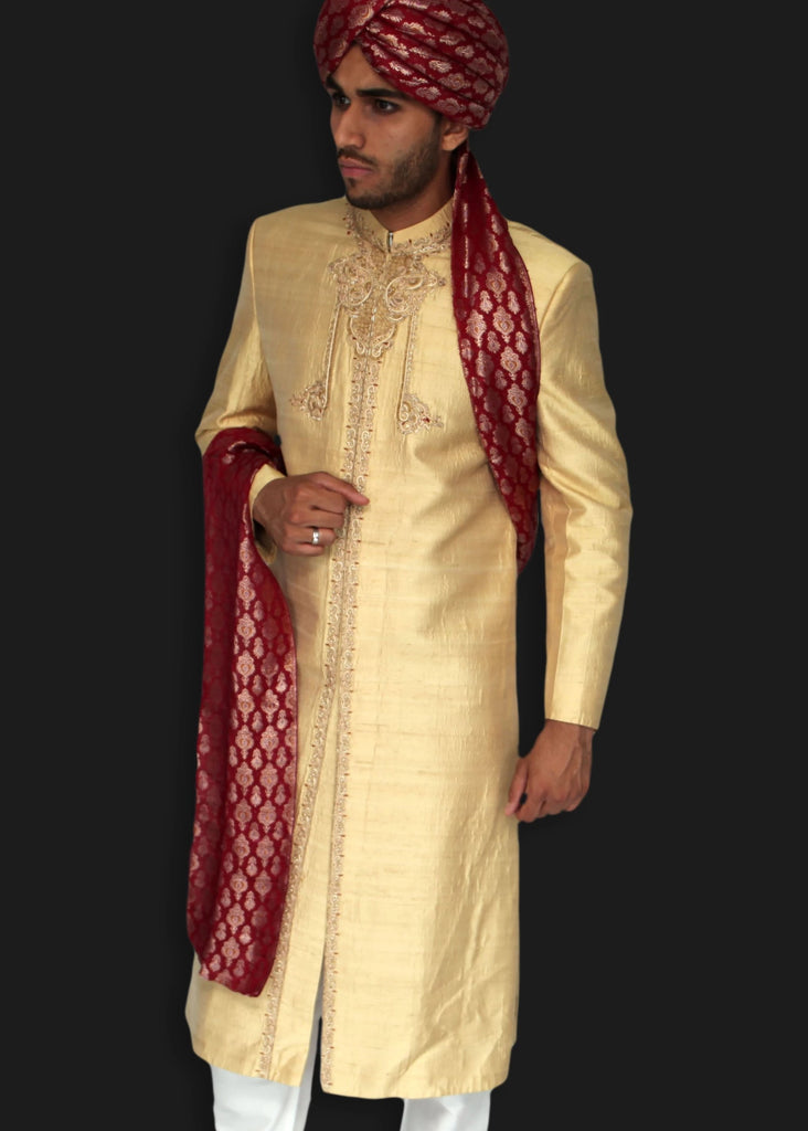 Light Gold Sherwani with Delicate Hand Embroidered Zardozi Detailing