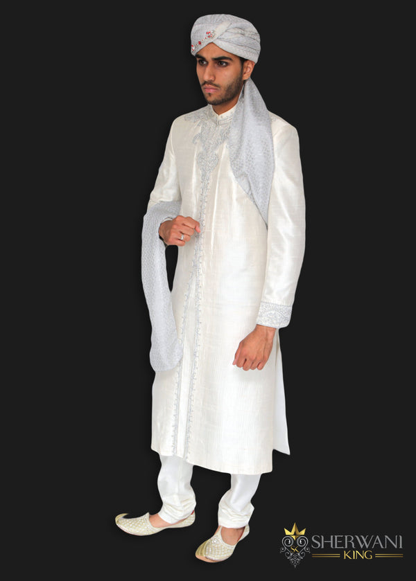 Ivory White Silk Sherwani with Hand Embroidered Zardozi Detailing