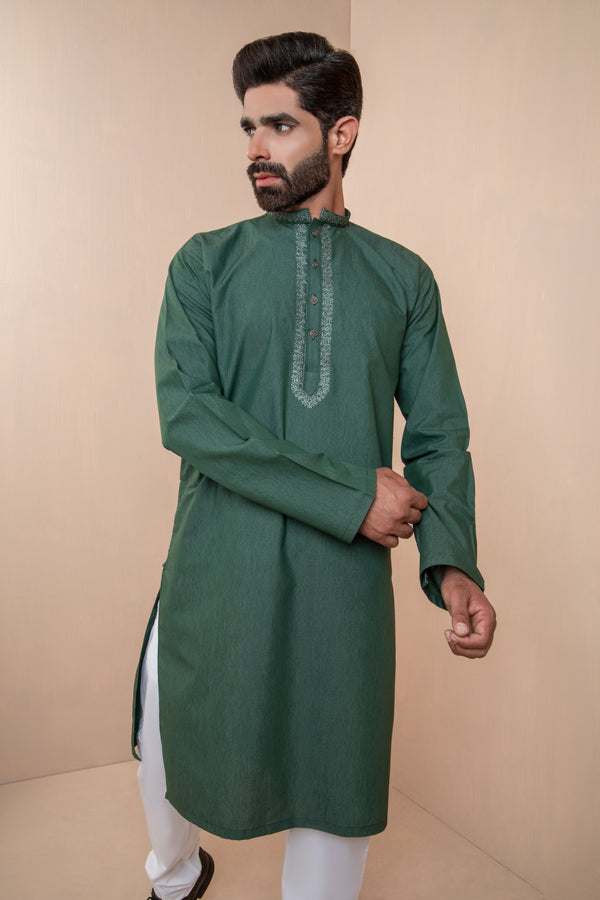 Green Eid Kurta Set with Decorative Collar and Front