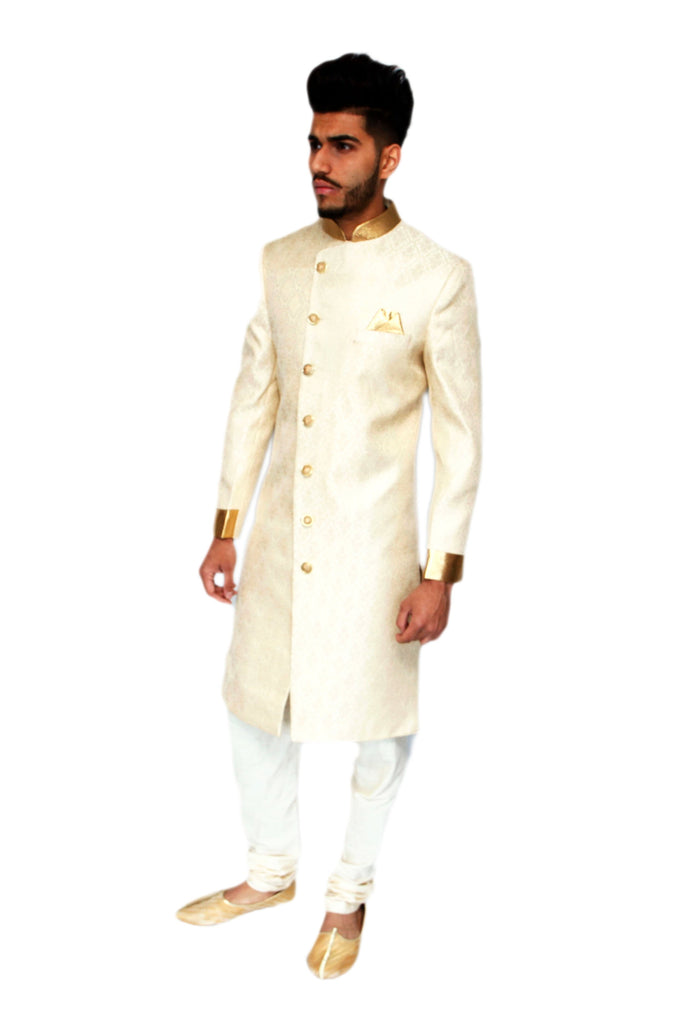 Light Gold and Cream Brocade Sherwani with Gold details
