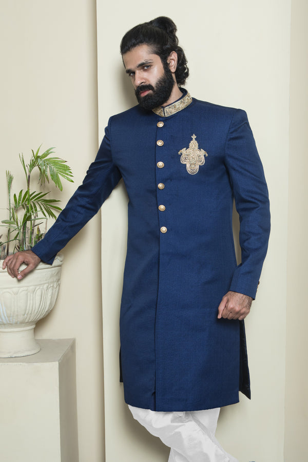 Deep Blue Classic Sherwani with Gold Details