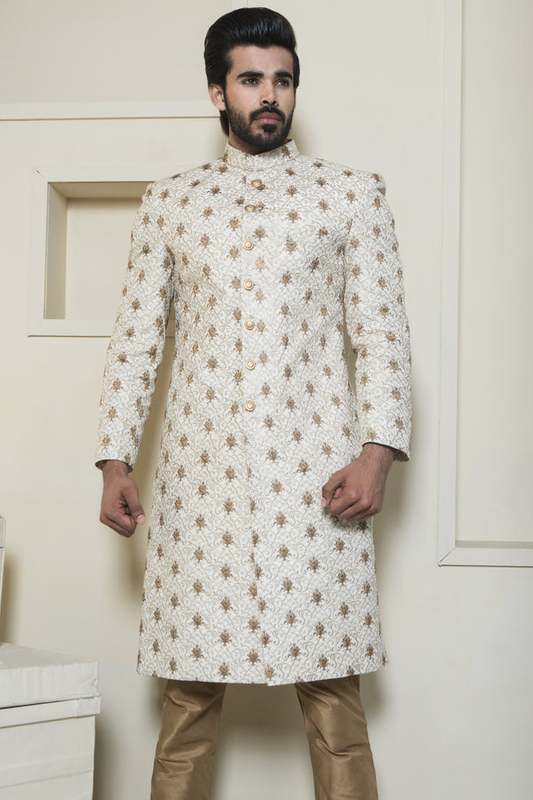 Gold Sherwani with Bronze Thread Embroidery
