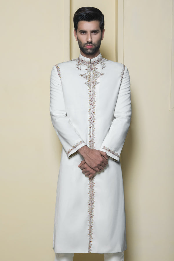 Ivory White Elegant Indian Sherwani with Red Embroidery Details
