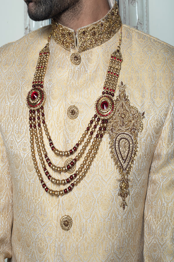 Maroon and Gold Layered Haar Necklace