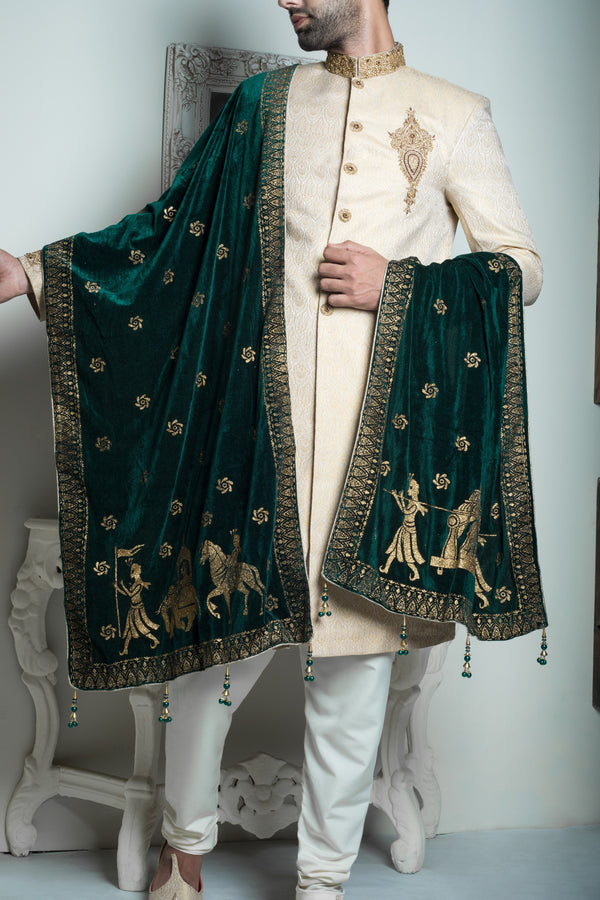 Emerald Green Shawl with Gold Trim and Details