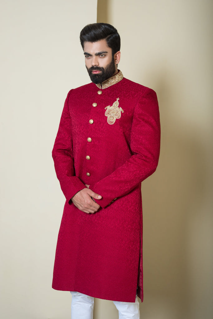 Red Classic Sherwani with Gold Details