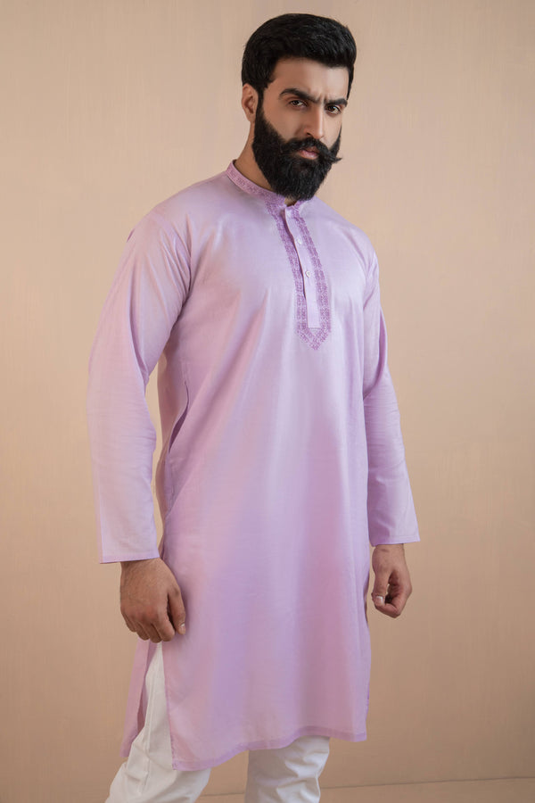 Lavender Eid Kurta Set with Pattenerned Collar and Front