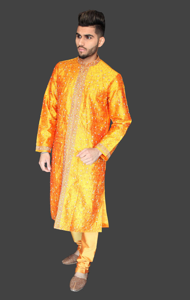 Mustard Embroidered Silk Kurta Sherwani