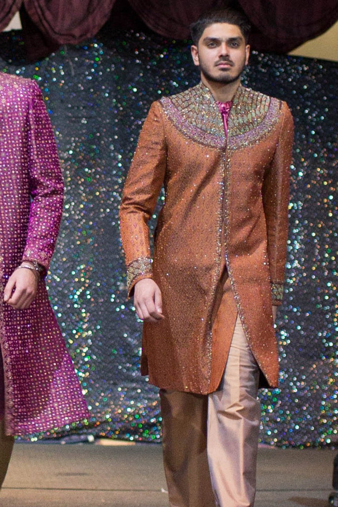 Rust Sherwani with Neck Embroidery