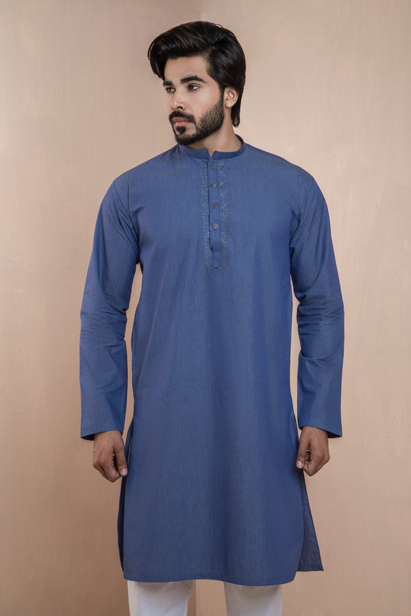 Powder Blue Eid Kurta Set with Detailed Collar and Front