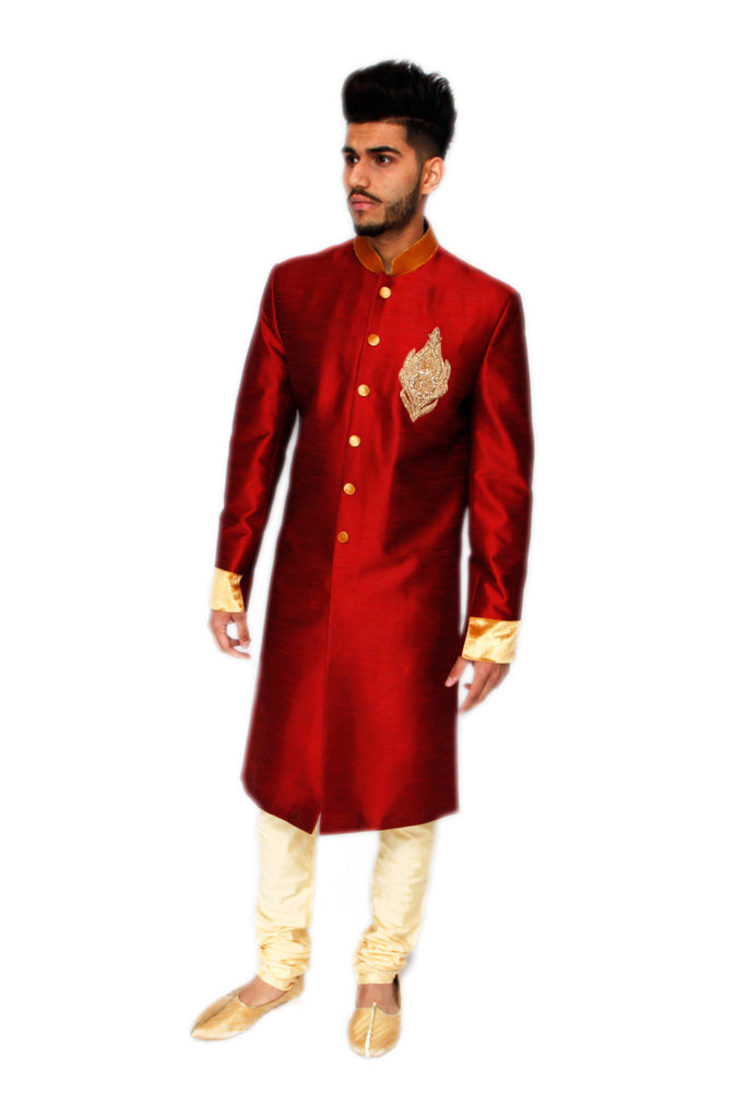 Red Silk Sherwani with Gold Motif
