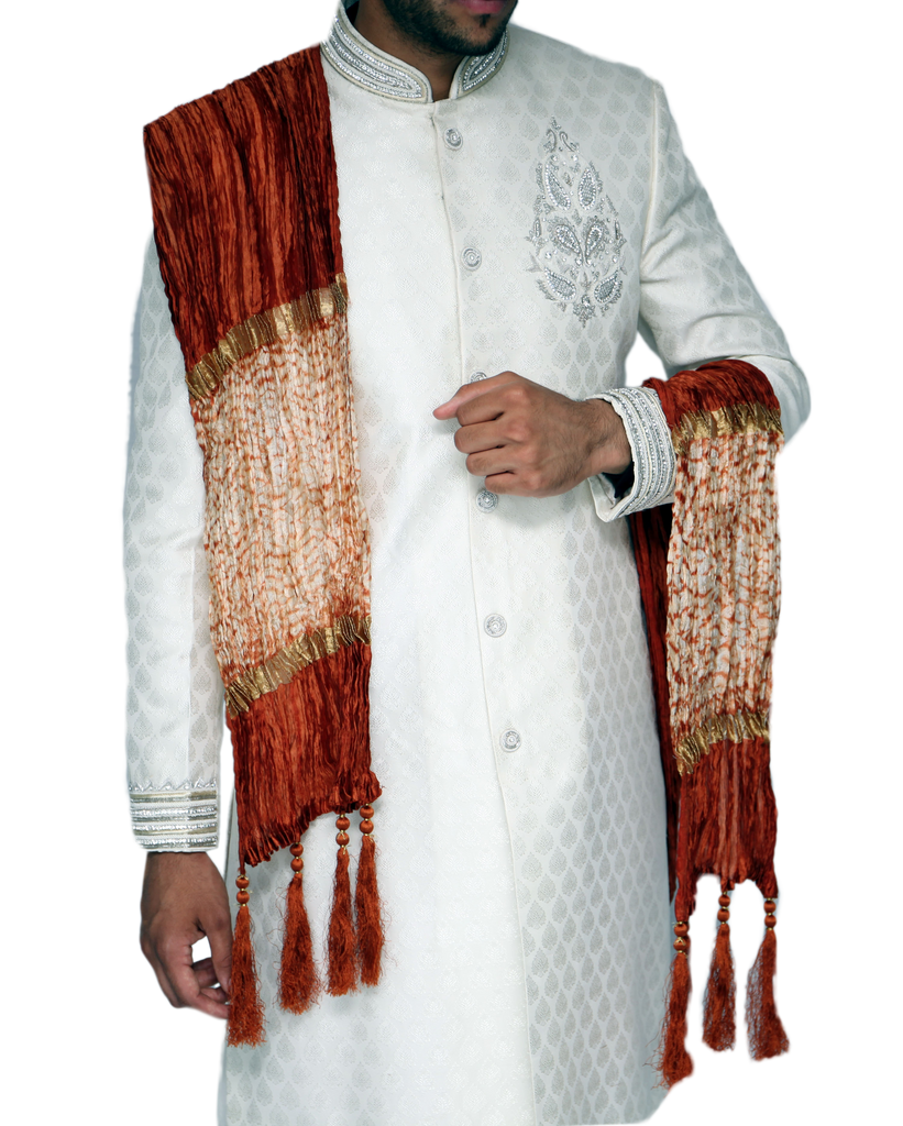 Burnt Orange and Gold Sherwani Scarf - 118