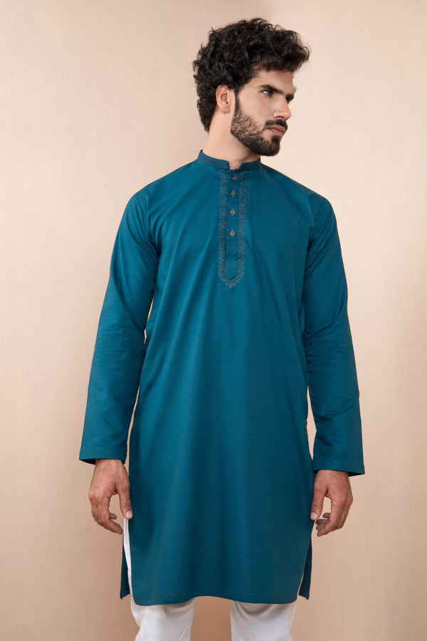 Azure Eid Kurta with Decorative Collar and Front