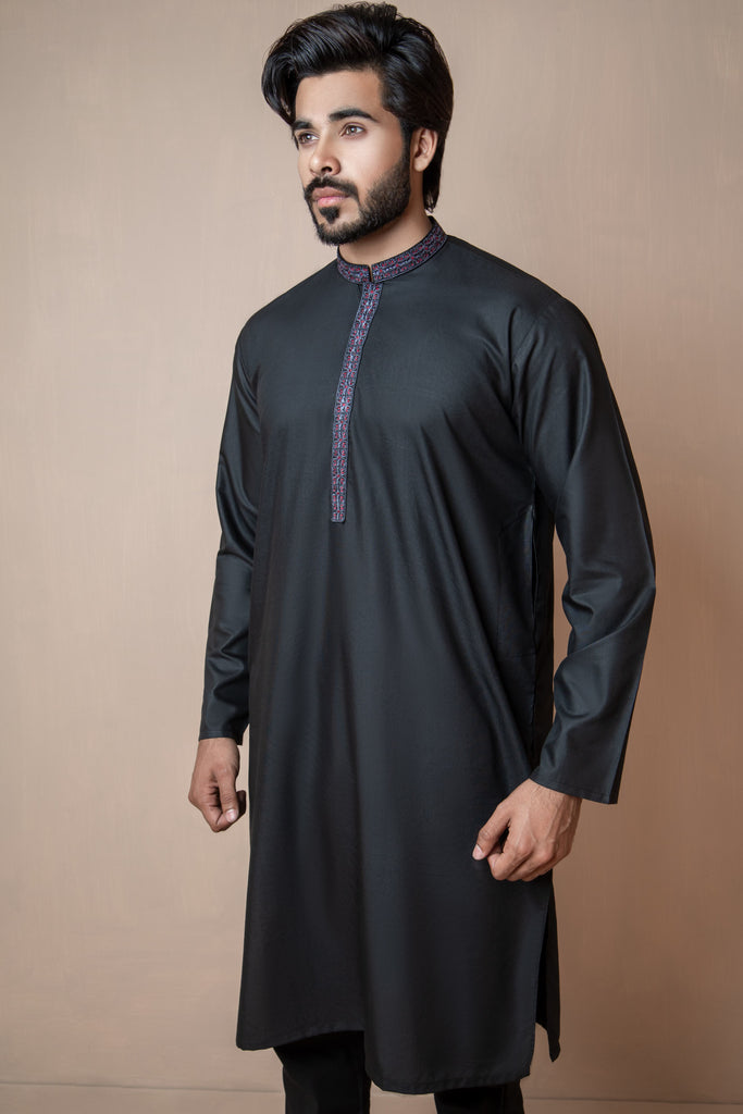 Midnight Black Eid Kurta Set with Patterned Collar and Front