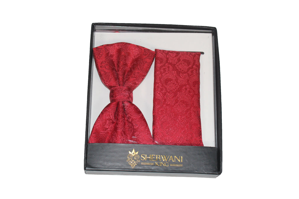 Red Brocade Silk Bow Tie and Pocket Square Set